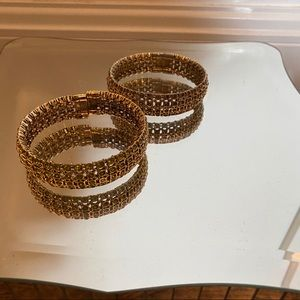 Pair of Gold Rhinestone Bracelets